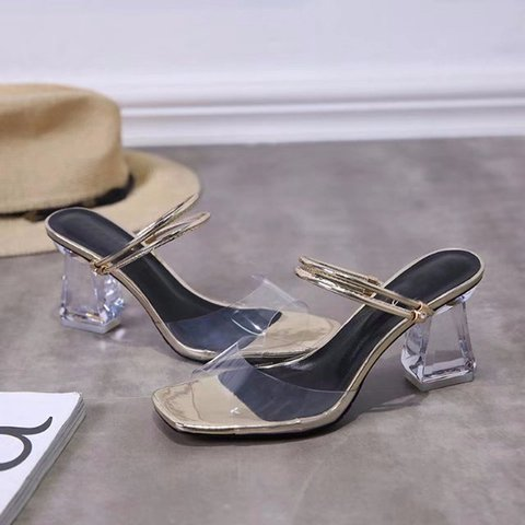Date Pvc Open Toe Chunky Heel Daily Slippers