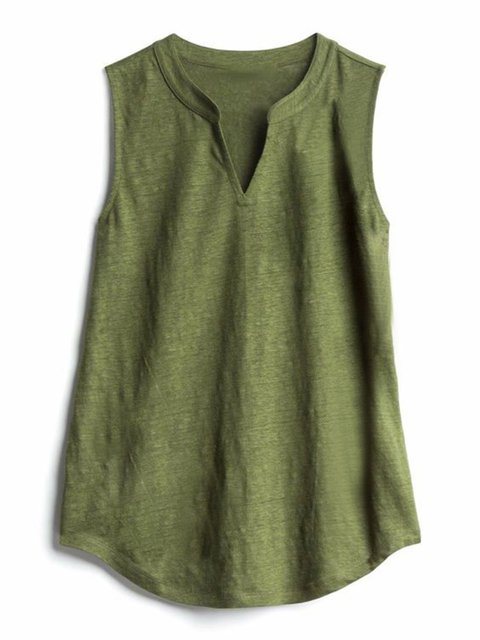 Plus Size Women Tops V-Neck Sleeveless Solid Casual Tank Tops