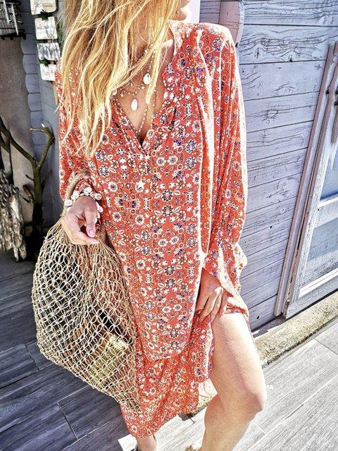 Plus Size Floral Print Boho Women Vacation Maxi Dresses