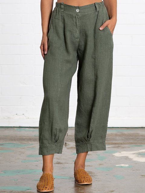 Summer Plus Size Linen Women Daily Loose Capri Pants With Pockets