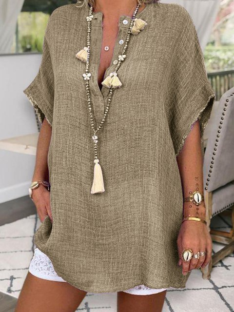 Plus Size Linen Hippie Batwing Women Summer Blouses