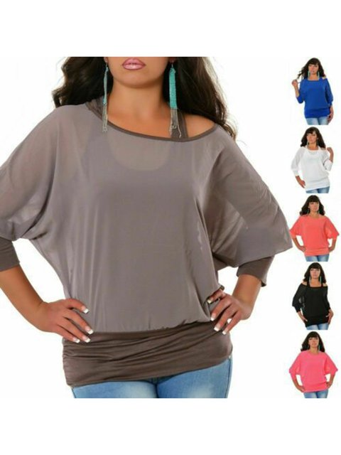 Casual Paneled Batwing Plain Shirts & Tops
