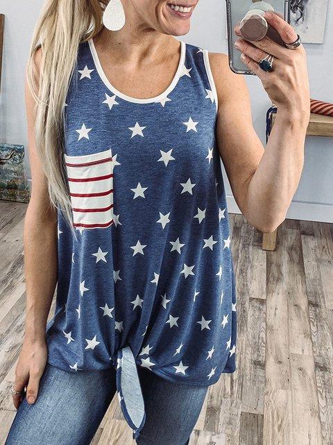 Blue Sleeveless O-Neck Shirts & Tops