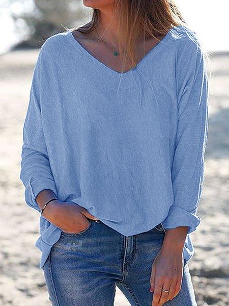 V Neck Long Sleeve Solid Shirts