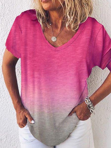 Gradient Color Short Sleeve Shirts