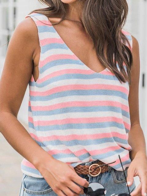Women Printed Striped Sleeveless Striped Holiday Tanks