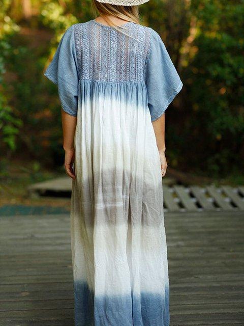 Blue Short Sleeve Boho Dresses