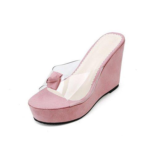 Transparent Peep Toe Platform Wedge Slide Sandals