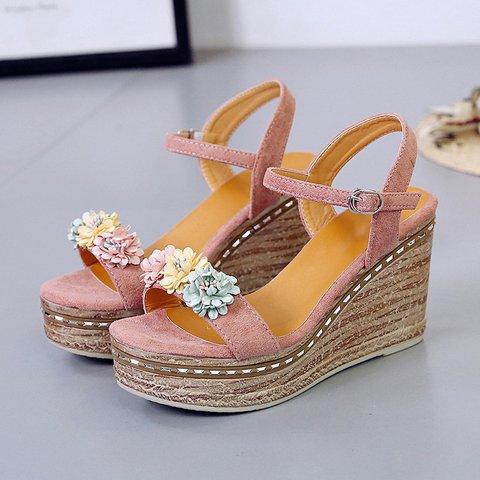 Cute Suede Flower Embellished Platform Wedge Sandals