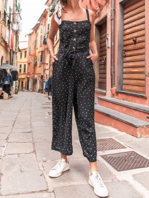 Black Polka Dots Sleeveless Square Neck Casual Jumpsuits&rompers