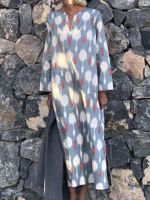 Plus Size Slit Women Maxi Dresses Long Kaftans With Pockets