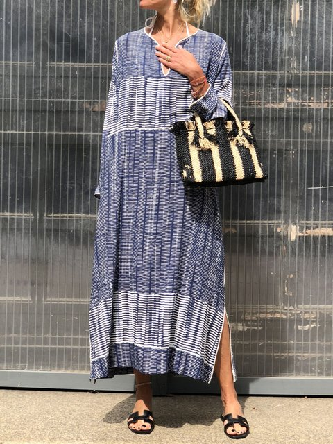 Plus Size Stripes Women Maxi Dresses Long Kaftans