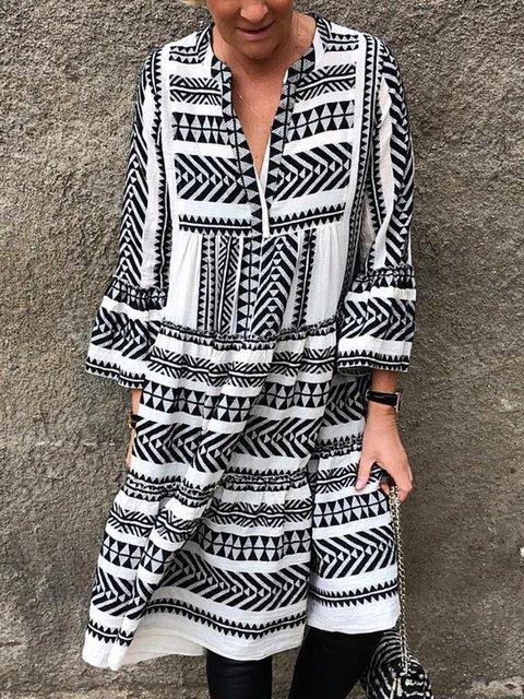 Plus Size Tribal Print Boho Women Midi Dresses