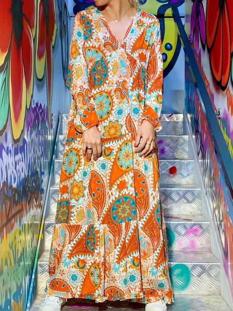 Plus Size Hippie Print Boho Women Maxi Dresses