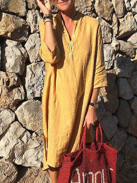 Plus Size Linen Slit Women Midi Dresses
