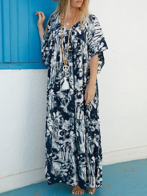 Plus Size Tie Dyed Vacation Women Maxi Dresses