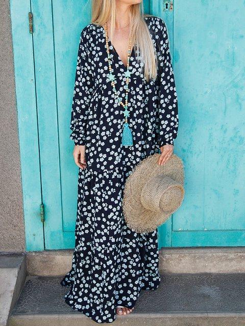 Plus Size Floral Print Vacation Women Maxi Dresses
