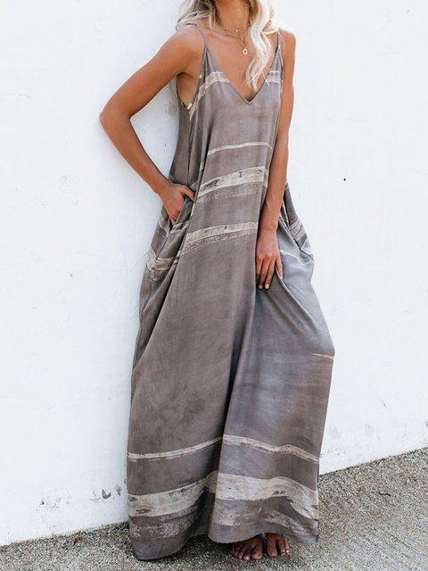 Women's Pocket Maxi Dress Summer Casual Strap Dresses