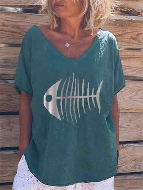 Casual V Neck Short Sleeve Printed Shirts