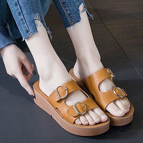 Women Casual Platform Wedge Slippers