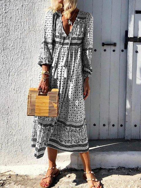 V-Neck Women Dresses Daytime Boho Paneled Dresses