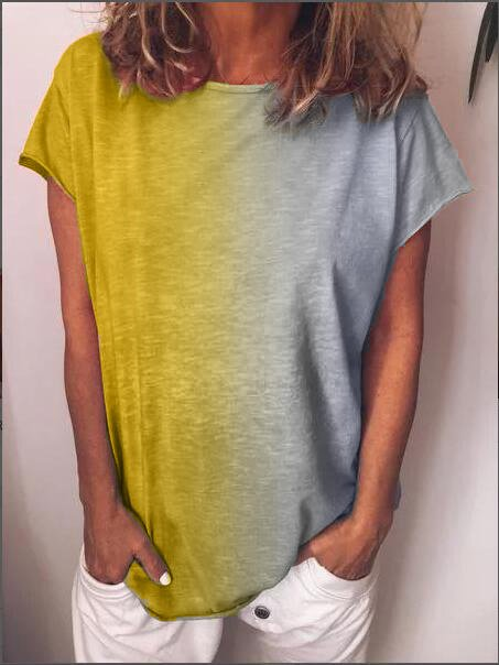 Cotton-Blend Casual Color-Block Shirts & Tops