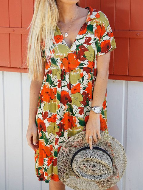 Plus Size Floral Print Women Mini Dresses