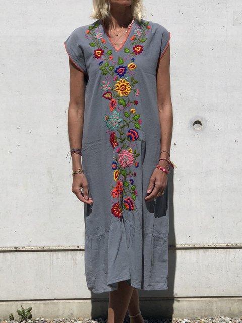 Plus Size Floral Women Summer Dresses Long Kaftans