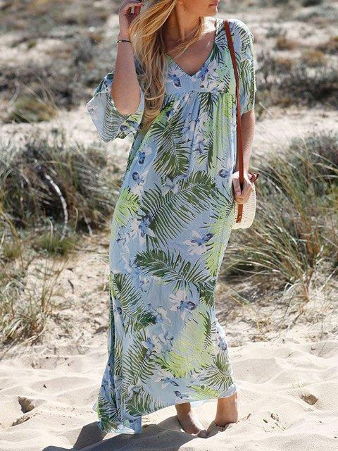 Plus Size Leaf Print Vacation Women Maxi Dresses