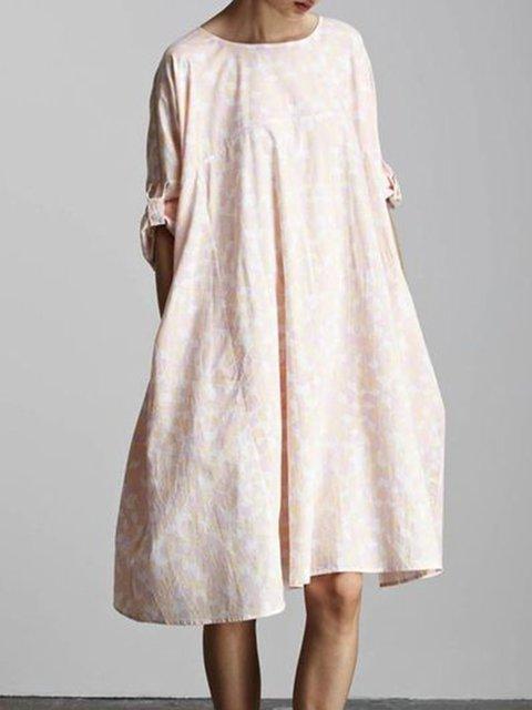 Light Pink Half Sleeve Patchwork Big Hem Dress Round Neck Dresses