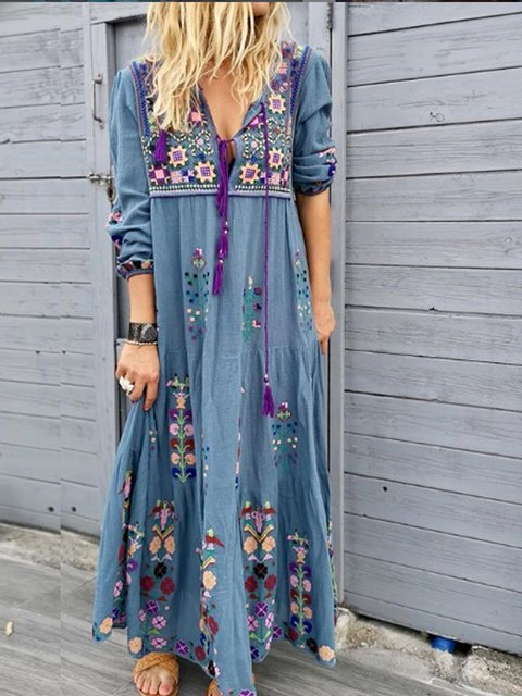 Casual Patchwork Cotton-Blend V Neck Maxi Dresses