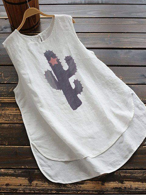 Plus Size Women's Sleeveless Casual T-shirt Summer Breathable Cotton Prited Tops