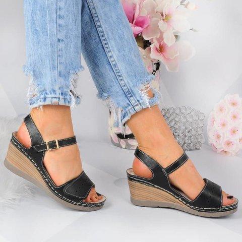 Classic Women's Peep Toe Buckle Wedges Magic Tape Wedge Sandals