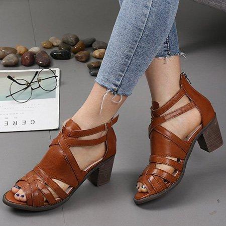 Women Peep Toe Heels Back Zipper Vintage Sandals