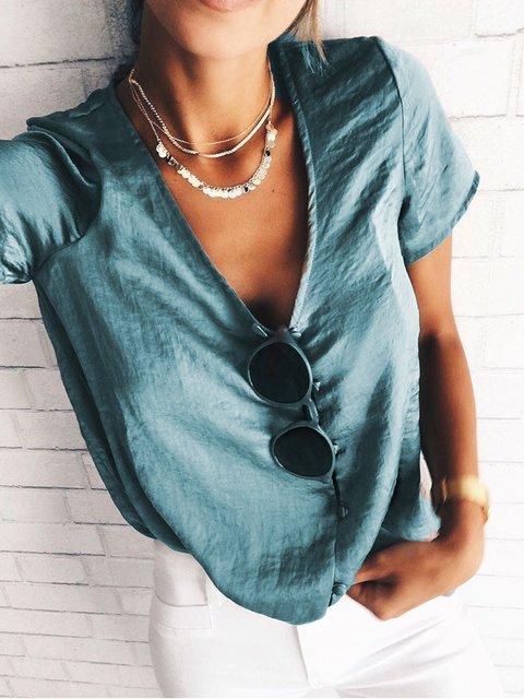 Casual V Neck Shirts & Tops