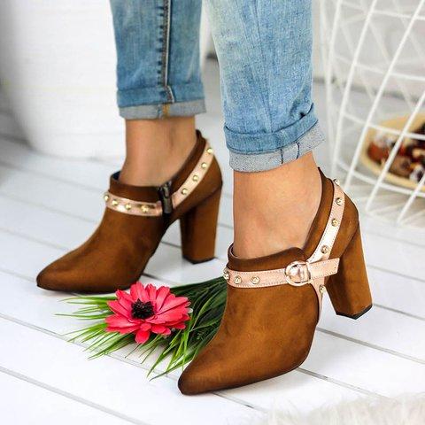 Women Comfy Chunky Heel Zip Ankle Booties