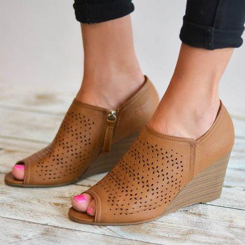 Stylish Peep-Toe Wedges Zipper Sandals