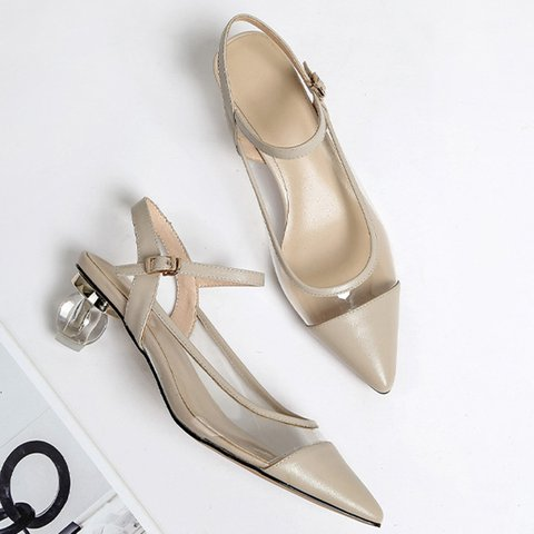 Pointed Toe Genuine Leather Special Heel Strap Sandals