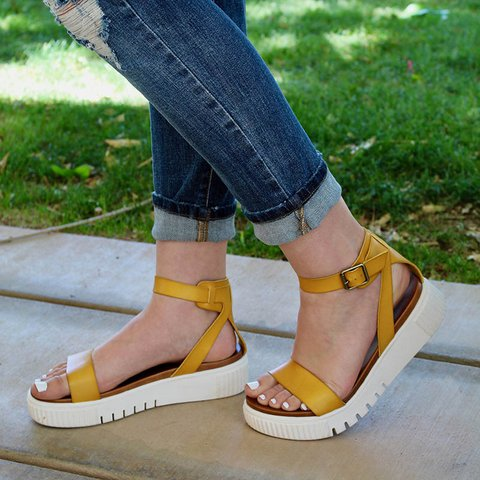 Ankle Strap Platform Buckle Sandals