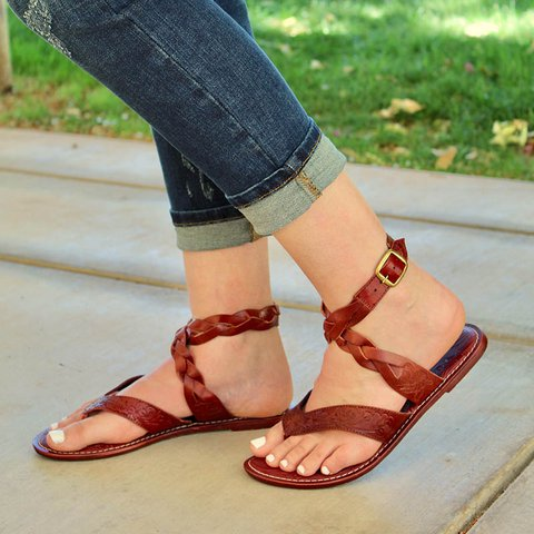 Women Comfy Thong Ankle Strap Flat Sandals