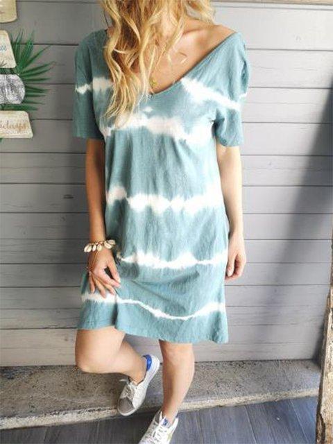 V Neck Women Summer Dresses Shift Abstract MIdi Dresses