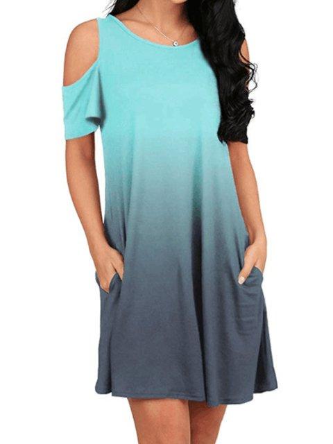 Summer Dress Dip-Dye Cold Shoulder Round Neck A-Line Casual Dresses