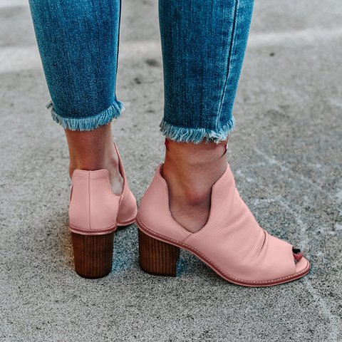 Women Casual Comfy Slip On Peep Toe Heeled Boots