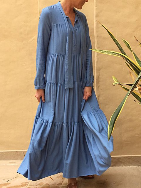 9def26c37bb Justfashionnow Plus Size Women Dresses Maxi Dresses Sundress Long Sleeve 1  Casual Dresses Daily A-Line V Neck Casual Pleated Dresses