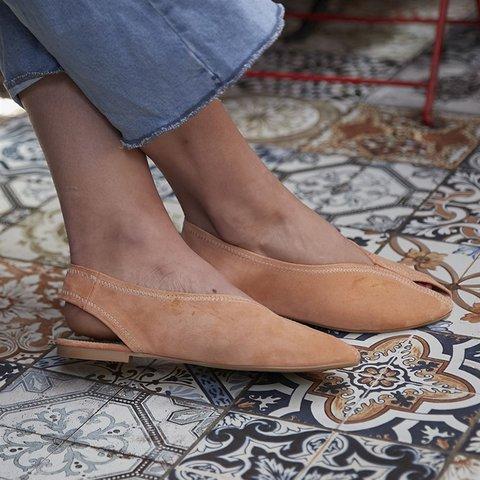 Slip-On Peep Toe Flat Women Casual Sandals
