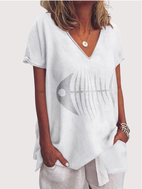 V Neck Linen Casual Shirts & Tops