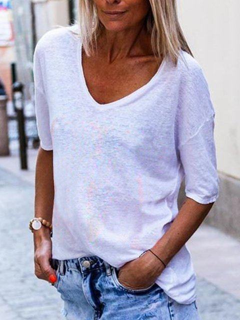Women's Casual Solid Color Cotton T-Shirts Short Sleeve Round Neck Tops