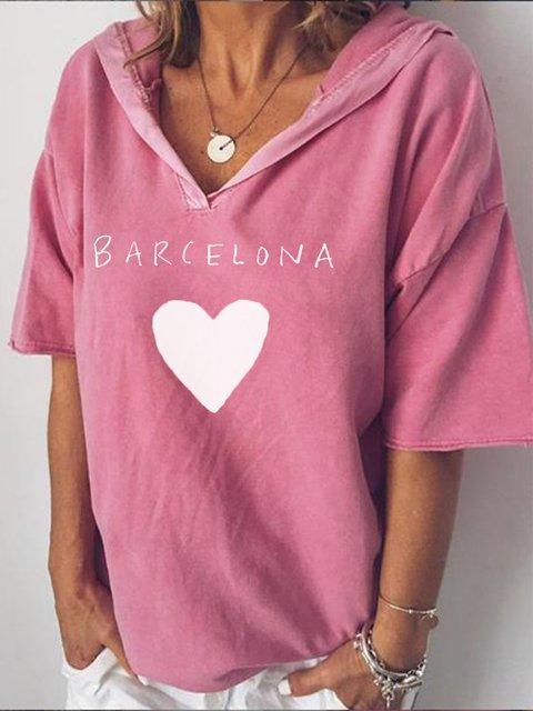 V Neck Paneled Cotton-Blend Half Sleeve Shirts & Tops