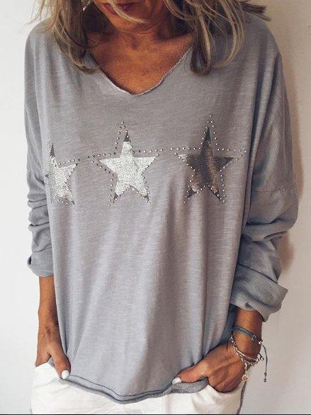 Long Sleeve V Neck Shirts Blouses