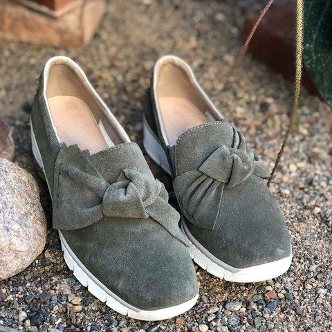 Women Square Toe Bowknot Slip On Shoes